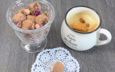Truffes au chocolat et au Cognac & lait de poule végétal